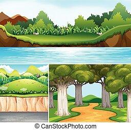 rio, três, cenas, estrada, natureza