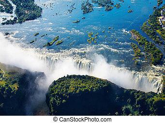 rio zambezi, e, quedas victoria