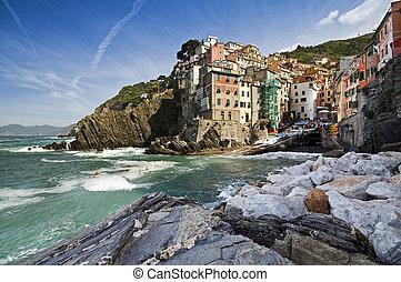 Riomaggiore ancient village in Cinque Terre, Italy