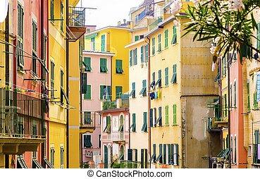 Riomaggiore, Cinque Terre, Italy - Riomaggiore village, La...