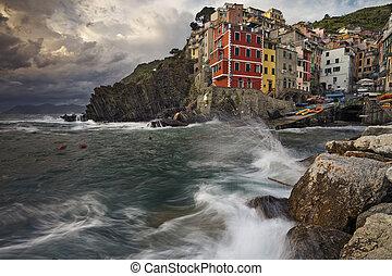 Riomaggiore. - Image of Riomaggiore (Cinque Terre, Italy),...