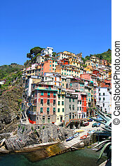 Riomaggiore in the famous region of Cinque Terre in Italy,...