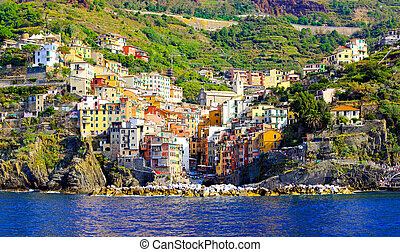 Riomaggiore panorama - Panorama of colourful houses in...