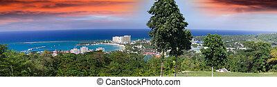 rios, ocho, panoramisch, jamaica., hügel, ansicht