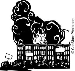 Woodcut style image of a riot or protest in front of burning Baltimore Row houses