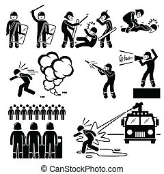 A set of human pictogram representing the ways of riot police controlling rioters. It includes beating, arrest, tear gas, and water cannon.