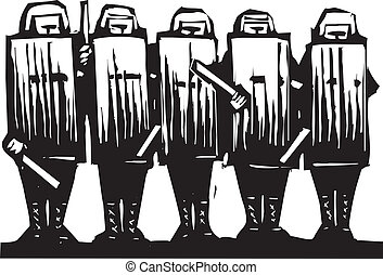 Riot Police - Line of riot police with batons and shields.