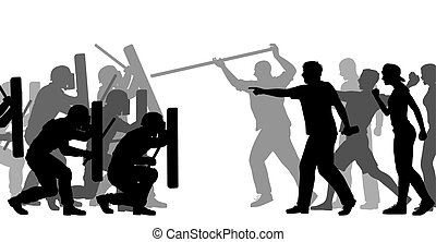Riot police under attack - Editable vector cutout...
