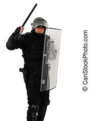 riot policeman attack