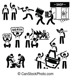 A set of human pictogram representing rioters destroying the cities in a protest and demonstration against the government.
