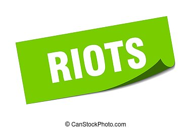 riots sticker. square isolated label sign. peeler - riots ...