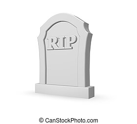 rip - gravestone with the letters rip on white background -...