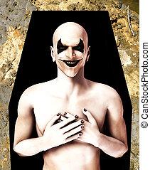 RIP Evil Clown - An image of a dead evil clown in a coffin.