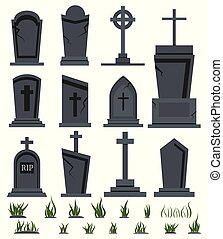 RIP grave tombstone set with green grass for halloween design isolated on white background Vector flat illustration.