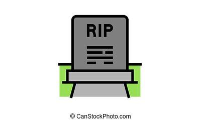 rip gravestone animated color icon. rip gravestone sign. isolated on white background