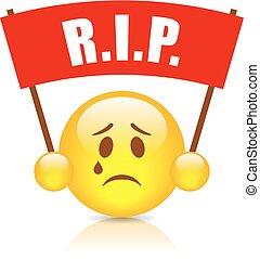Rip sad vector emoticon illustration