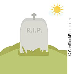 RIP. Tomb in nature. Vector Illustration.
