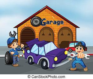 riparare, automobile, viola, due ragazzi