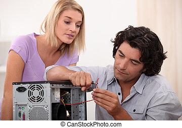 riparare, computer, uomo