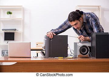 riparare, giovane, hi-fi, sistema, ingegnere, musicale