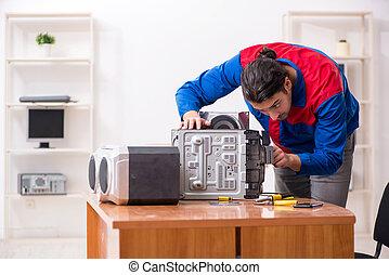 riparare, sistema, giovane, hi-fi, musicale, ingegnere
