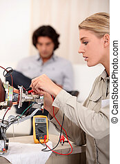 riparare, televisione, donna