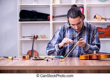 riparare, violino, riparatore, giovane, bello