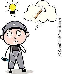 riparatore, attrezzo, lavoro, -, idea, illustrazione, vettore, retro, lavoratore, prendere, martello, cartone animato