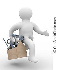riparatore, con, il, attrezzo, bianco, fondo., 3d, immagine