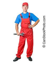 riparatore, lavoratore, figura, pieno-lunghezza