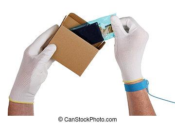 riparazione, antistatic, moderno, macchina fotografica, guanti, digitale, tecnico, estrarre dall'imballaggio, mostra