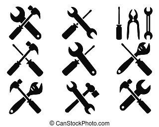 riparazione, attrezzo, icone, set