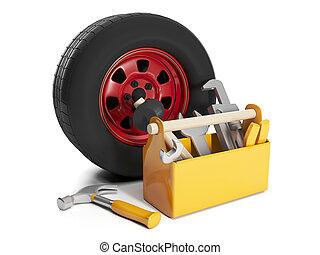 riparazione, automobile, cars., illustration:, ruote, sostituzione, 3d