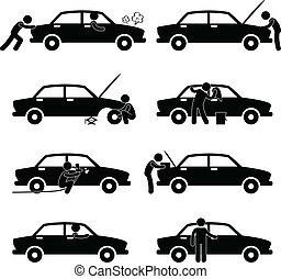 riparazione, automobile, fissare, lavare, pneumatico,...