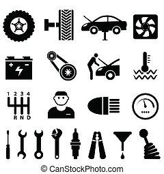 riparazione automobile, manutenzione, icone