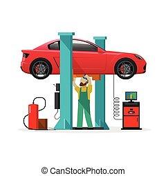 riparazione automobile, negozio, stazione, riparatore, auto,...