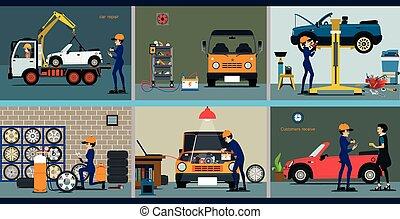 riparazione, automobile