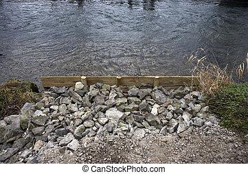 riparazione, banca fiume