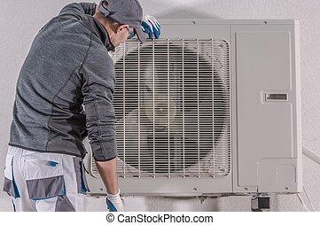 riparazione, calore, pompa