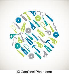 riparazione casa, colorito, icone
