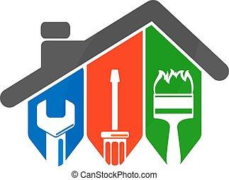 riparazione casa, con, uno, attrezzo