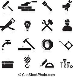 riparazione, costruzione, icone