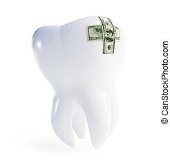 riparazione, dente, dollaro, pezza