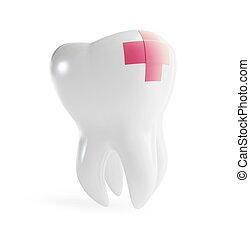 riparazione, dente, pezza