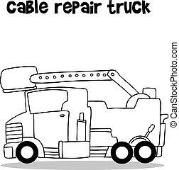 riparazione, disegnare, cavo, collezione, autocarro mano