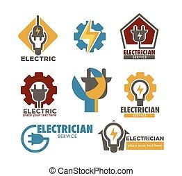 riparazione, elettricista, elettrico, servizio, icone,...