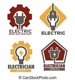 riparazione, elettricista, servizio, icone, elettricità,...