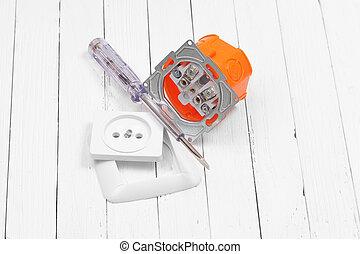 riparazione, elettrico, installazione, casa