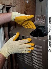 riparazione, fornace, riscaldamento, manutenzione