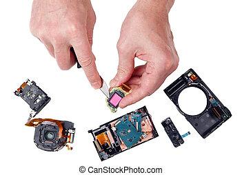 riparazione, foto, non professionale, macchina fotografica, mani, curvo, coltello, cucina